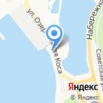 У причала на карте Петропавловска-Камчатского