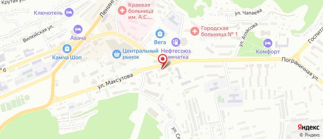 Карта расположения пункта доставки Петропавловск-Камчатский Максутова в городе Петропавловск-Камчатский