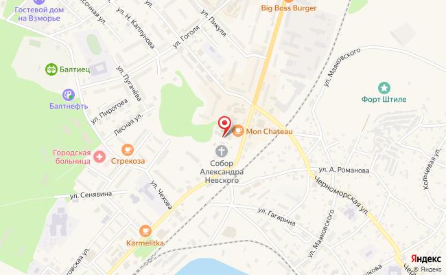Карта расположения пункта доставки Ростелеком в городе Балтийск