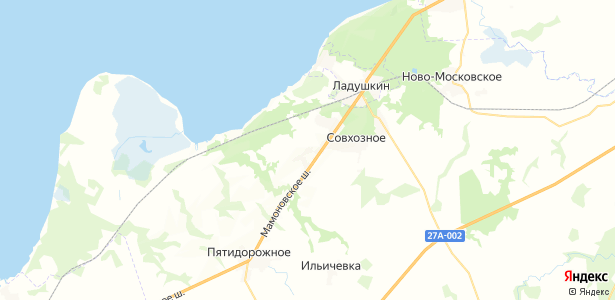 Раздольное на карте