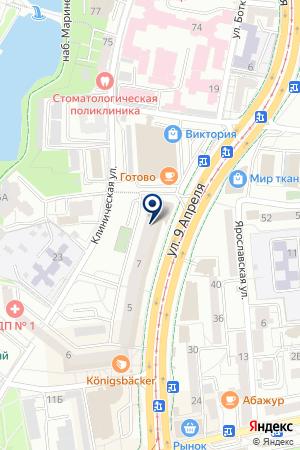 КАФЕ 9-ГО АПРЕЛЯ на карте Калининграда