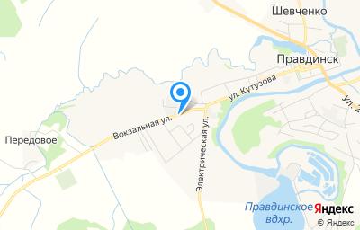 Местоположение на карте пункта техосмотра по адресу Калининградская обл, г Правдинск, ул Вокзальная, д 11