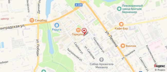 Карта расположения пункта доставки Ростелеком в городе Черняховск