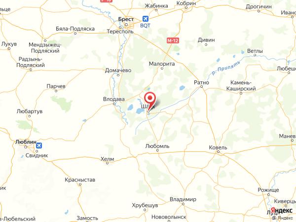 поселок городского типа Шацк на карте