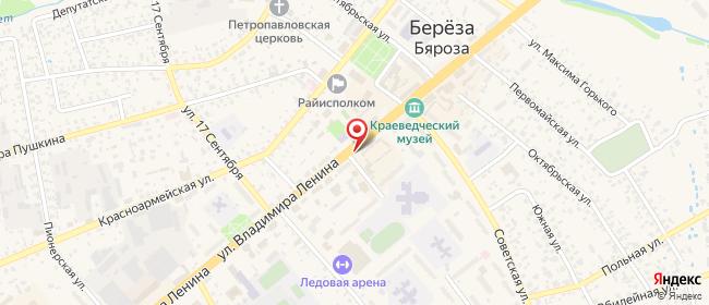 Карта расположения пункта доставки Белевросеть в городе Береза
