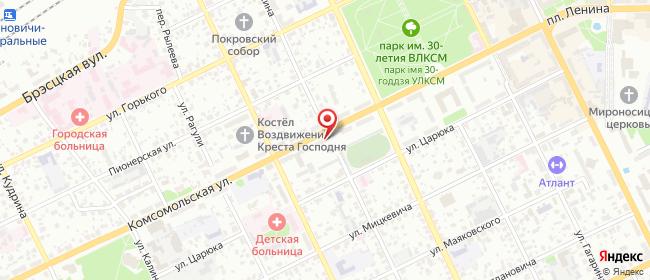 Карта расположения пункта доставки Комсомольская в городе Барановичи