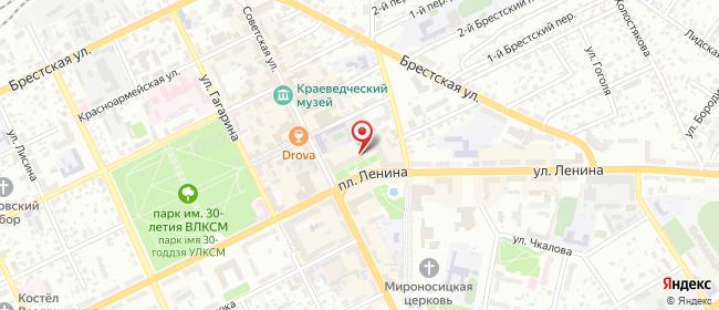 Карта расположения пункта доставки Белевросеть в городе Барановичи