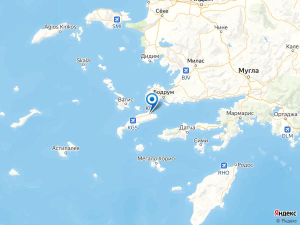 город Кос на карте