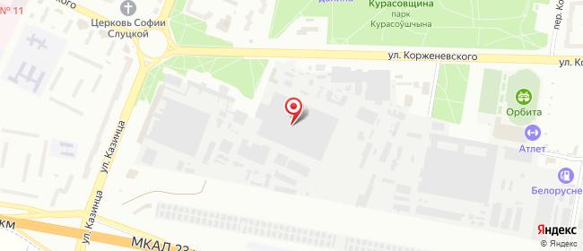 Карта расположения пункта доставки пл Казинца в городе Минск