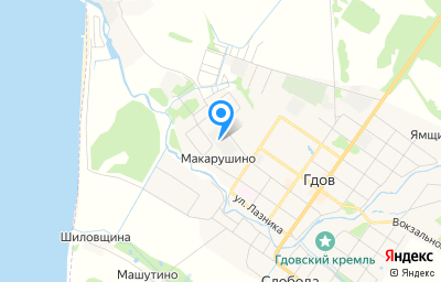 Местоположение на карте пункта техосмотра по адресу Псковская обл, г Гдов, ул Ленина, д 41