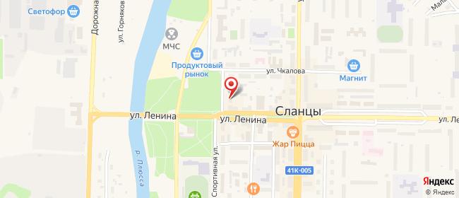 Карта расположения пункта доставки Сланцы Партизанская в городе Сланцы