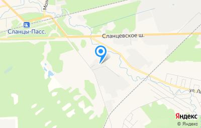 Местоположение на карте пункта техосмотра по адресу Ленинградская обл, г Сланцы, пер Автомобилистов, зд 2