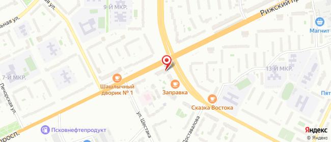 Карта расположения пункта доставки 220 вольт в городе Псков