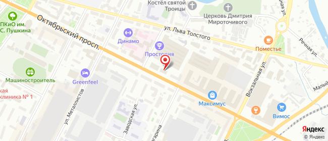 Карта расположения пункта доставки Псков Октябрьский в городе Псков