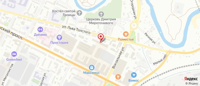 Карта расположения пункта доставки На Октябрьском в городе Псков