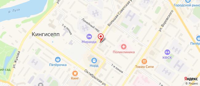 Карта расположения пункта доставки Ростелеком в городе Кингисепп
