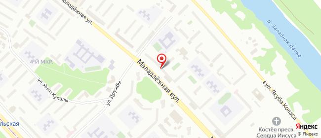Карта расположения пункта доставки На Молодёжной в городе Новополоцк