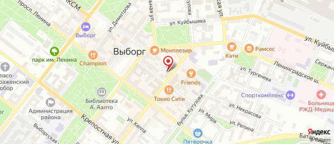 Карта расположения пункта доставки Ростелеком в городе Выборг