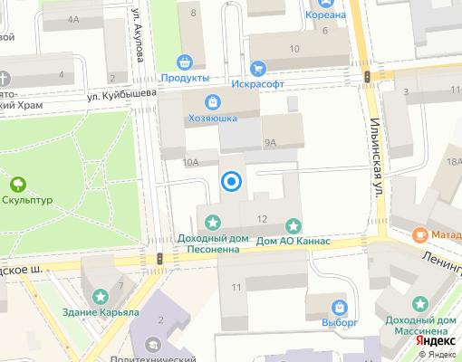 Жилищно-строительный кооператив «Репина-9» на карте Выборга