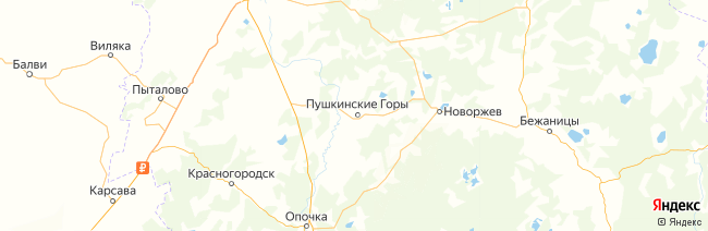 Пушкинские Горы на карте