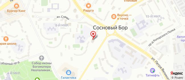 Карта расположения пункта доставки СИТИЛИНК в городе Сосновый Бор