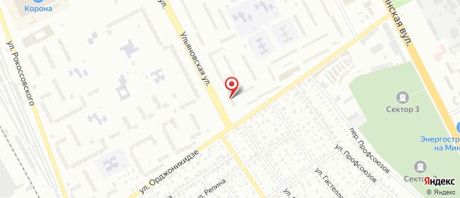 Карта расположения пункта доставки На Ульяновской в городе Бобруйск