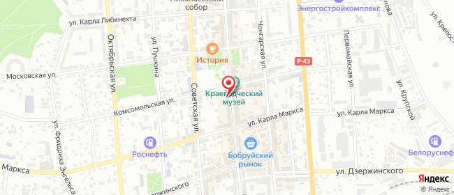 Карта расположения пункта доставки Белевросеть в городе Бобруйск
