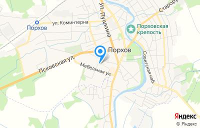 Местоположение на карте пункта техосмотра по адресу Псковская обл, г Порхов, ул Профсоюзная, д 16Б