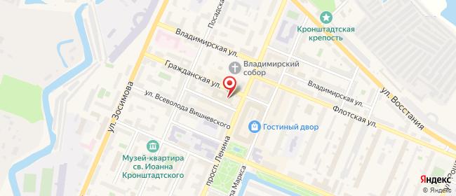 Карта расположения пункта доставки Кронштадт Ленина в городе Кронштадт