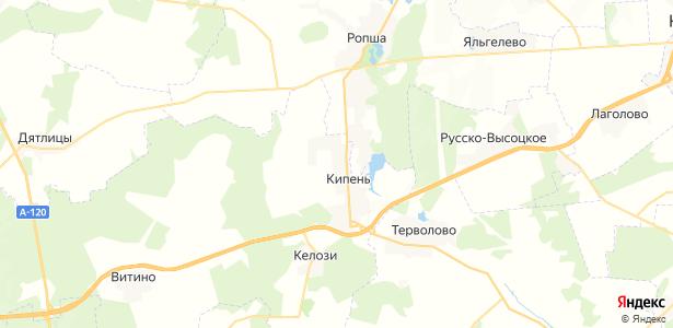 Кипень на карте