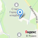 Городское Петергофское кладбище на карте Санкт-Петербурга