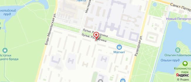 Карта расположения пункта доставки Петергоф Разведчика в городе Петергоф