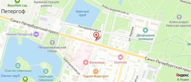 Карта расположения пункта доставки Петергоф Санкт-Петербургский в городе Петергоф