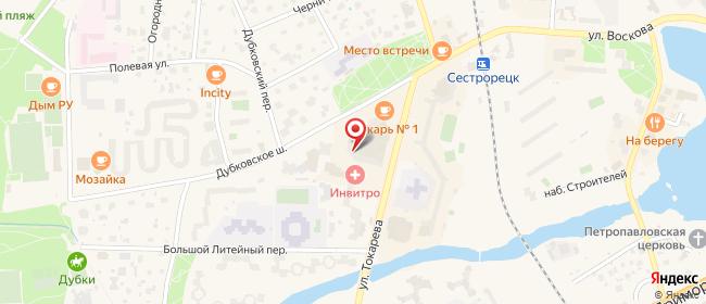 Карта расположения пункта доставки Сестрорецк Токарева в городе Сестрорецк