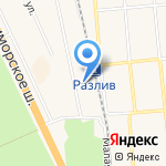 У Разлива на карте Санкт-Петербурга