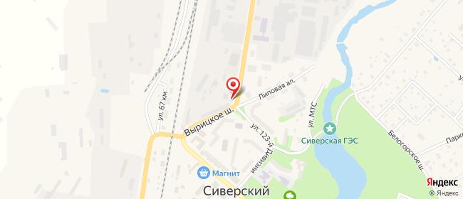 Карта расположения пункта доставки Сиверский Вырицкое в городе Сиверский