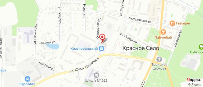 Карта расположения пункта доставки Красное Село Лермонтова в городе Красное Село