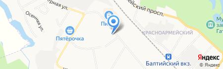 Магазин мясной продукции на ул. Генерала Кныша на карте Гатчины