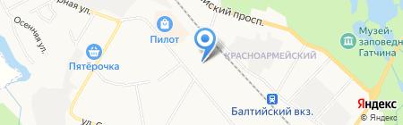 Шиномонтажная мастерская на ул. Генерала Кныша на карте Гатчины