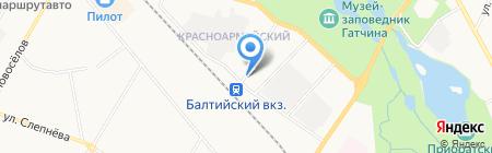 Кафе на ул. Григорина на карте Гатчины