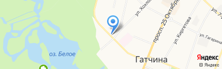 Кафе на ул. Крупской на карте Гатчины