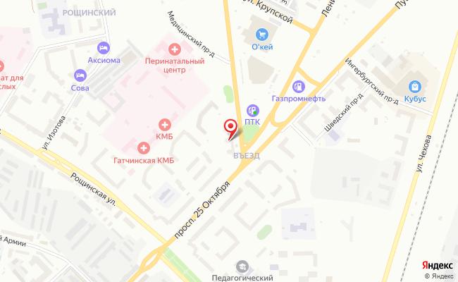 Карта расположения пункта доставки Пункт выдачи в городе Гатчина