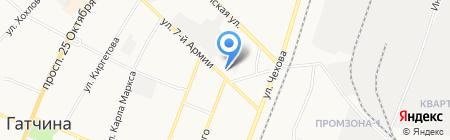 Магазин цветов на ул. 7 Армии на карте Гатчины