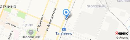 Автостоянка на ул. Чехова на карте Гатчины