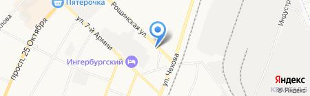 Шиномонтажная мастерская на Рощинской на карте Гатчины