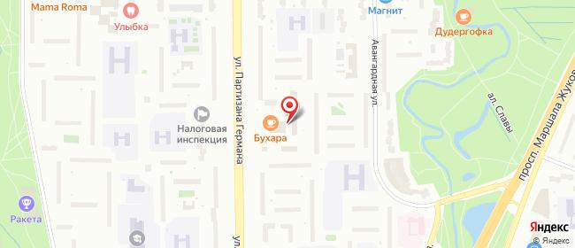 Карта расположения пункта доставки Санкт-Петербург Партизана Германа в городе Санкт-Петербург