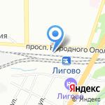Лигово на карте Санкт-Петербурга