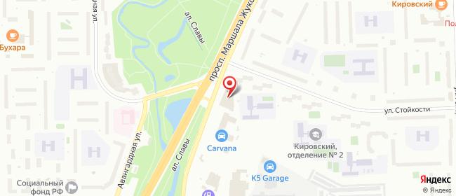 Карта расположения пункта доставки Санкт-Петербург Жукова в городе Санкт-Петербург