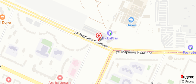 Карта расположения пункта доставки (Юнона, Маршала Казакова, 35) в городе Санкт-Петербург
