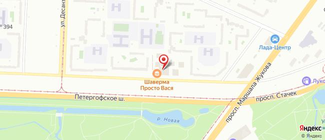 Карта расположения пункта доставки Санкт-Петербург Петергофское в городе Санкт-Петербург